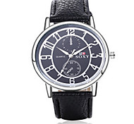 SOXY® Men's Black/Brown Leather Band Black Case Analog Quartz Dress Watch(NO Water Ressistant)