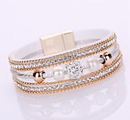 Bracelet Chaînes & Bracelets / Bracelets Wrap / Bracelets en cuir / Loom Bracelet Alliage / Cuir / Strass Forme GéométriqueMode / Bohemia