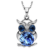 HKTC Blue Austria Crystal Animal Owl Design Charm Necklaces & Pendants for Girl Accessories