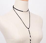 Women European Style Fashion Wild Black Metal Ring Necklace