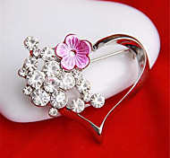 Unique Design Fashion Ornament Girl Rhinestone Heart Ladies' Alloy Costume Brooches