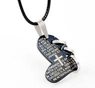amantes de la moda collar de titanio colgante cruzado del amor romántico círculo biblia