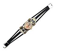 Damen Armband-Uhr Quartz Armbanduhren für den Alltag Leder Band Vintage Braun