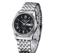 Men's Fashion Watch Calendar Quartz Stainless Steel Band Cool Silver