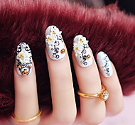 24PCS Fashion Totem Flower Nail Tips