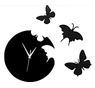 Butterfly Wall Clock Wall Stickers Acrylic Wall Clock Bedroom Mirror