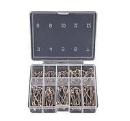 1 Box 100Pcs 3# - 12# 10 Sizes Steel Jig Hooks with Hole Fishing Tackle
