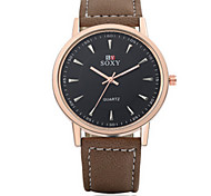 Lady's  Black/Brown Leather Band Heart Case Analog Quartz Dress Watch(NO Water Ressistant)