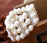 The new European and American exaggerated pearl alloy diamond wide bracelet