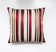 Satin Striped Cushion Cover-Red