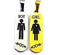 une paire d'hommes et de femmes signer quelques collier - couleur or paire