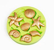 conchas de mar verano playa arcilla herramientas sugarcraft de la pasta de azúcar del molde de la magdalena de la decoración de polímero