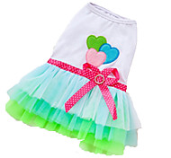 Dog Dress Green / Pink Summer Hearts