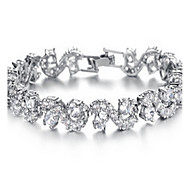 Women's Gold/Silver Chain Fine Bracelet with AAA Crystal Zircon