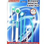 cepillo de dientes cepillo de dientes kit de cuidado dental hilo dental boca limpia la higiene, a 8 herramientas (colores aleatorios)