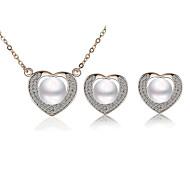 z&X® diamante com diamantes conjuntos de brinco colar de pérolas
