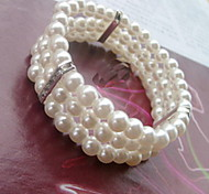 Three Layer Pearl Tennis Strand Bracelet