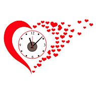 Wedding Room DIY Red Big Heart Love Wall Clock With Wall Stickers For Family Living Room Home Decor