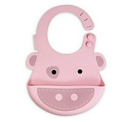 Silica gel Baby Bib Pocket Kids Children Eat Dinner Waterproof Stereo (Pig)