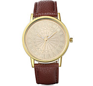 Men's Fashion Round Leather Casual Wristwatches Glass Analog Quartz Men Watch