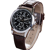 Women's Casual Brown PU Leather Band Quartz Watch