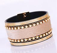 Fashion Elegant Rhinestone Botanic Velvet Geometry Magnet Alloy Buckle Bracelet