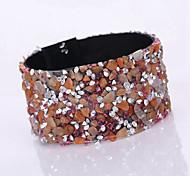 Unisex Chain/Fashion Gravel Shine Magnet Alloy Buckle Bracelet Resin Rhinestone Jewelry
