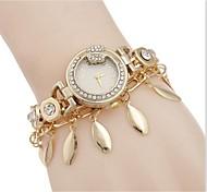 Woman Gold Leaves Butterfly Wrist Watch
