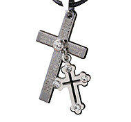 Punk With Cross Necklace, Men Collarbone Chain -Double Cross