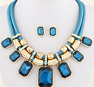 European Style Fashion Trend Simple Square Metal Gemstone Necklace Earring Sets
