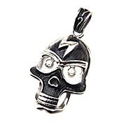 316L Stainless Steel Pendant Lightning Skull