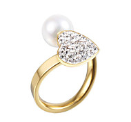 High-grade pearl diamond heart-shaped ring openingImitation Diamond Birthstone