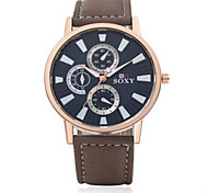 Men's Black/Brown Leather Band  Black Case Analog Quartz Dress Watch(NO Water Ressistant)