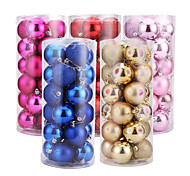 24 Mounted 8Cm Christmas Ball Light Ball Christmas Ball Plating Ball On New Year'S Decorations