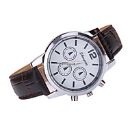 Men's White Case Leather Band Analog Quartz Fashion Watch