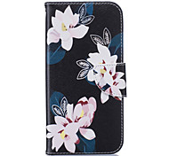 Black Lily Pattern Card Phone Holster for Samsung Galaxy S5/S6/S7/S6 edge/S7 edge