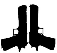 Fashion The Pistol Pattern PVC Bathroom or Glass Wall Sticker Home Decor
