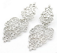 Lady's Silver Hollow Leaf Drop Earrings