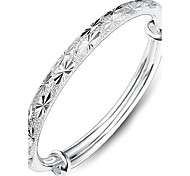 Silver Full-Star Adjustable Bangle Bracelet