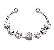 Bracelet Charmes pour Bracelets Bracelets Rigides Manchettes Bracelets Bracelets de rive Bracelets en Argent Alliage Strass Plaqué argent