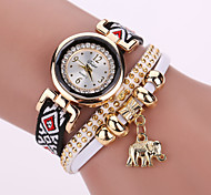 Lady's White Case Analog Quartz Elephant Pendant Leather Fabric Bracelet Watch for Party