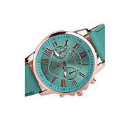 Women's Colorful Case Leather Band Analog Quartz Watch Wrist Watch