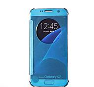 Samsung S7 Case Round Window Mirror Intelligent Dormancy Holster