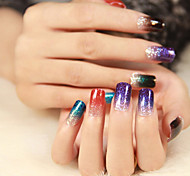 1pcs Gradient Color Nail Art Stickers Smooth Glitter Adhesive Full Cover Nail Patch Decals Nail Decoration