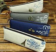 Korean Fashion Retro Classic Retro Canvas Pencil Paris Scenery Ship Stationery Bags Pouch