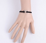 Black Fabric Peace Simple Leather Bracelet