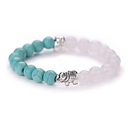 New Arrival Nature Stone White Marble Natural Turquoise Elephant $ Beads Bracelet #YMGS1017