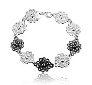 Party Dress Flower Black and Silver Fashion Jewelry Bracelet for Girl
