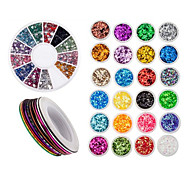 Nail Art Accessories Decorations With 24 Colored Paillettes, 30 Rolls Striping Lines Strips And  Wheel With Rhinestones