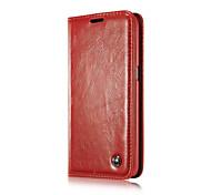 slot para cartão caso da tampa flip-caseme luxo genuína carteira de couro com suporte para Samsung Galaxy nota 4 / nota 5 edge / nota